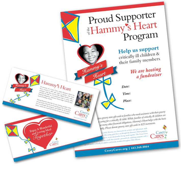 Poster and gift card holder for Casey Cares program called Hammy's Heart