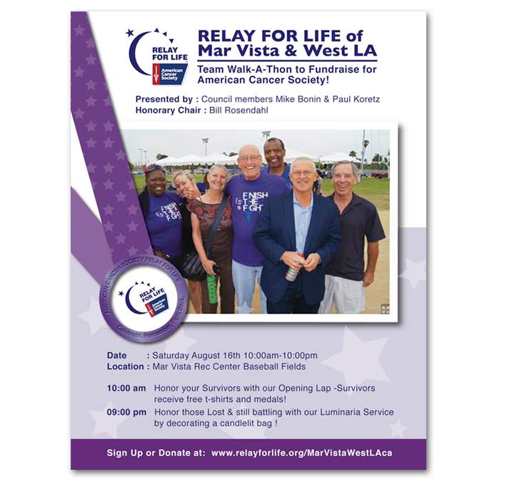 American Cancer Society Relay for Life fundraising event flyer