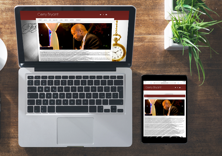 Gerry Bryant responsive website for desktop and mobile device
