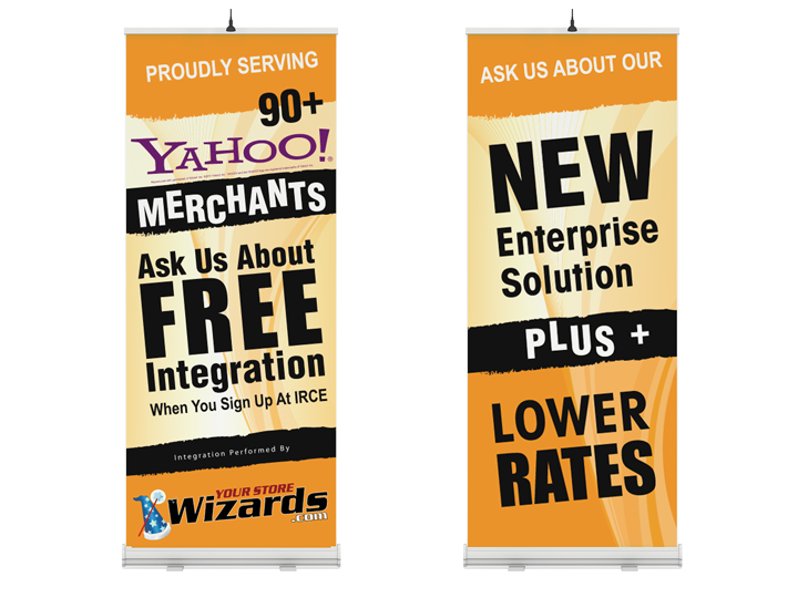 International Checkout tradeshow vertical banner designs