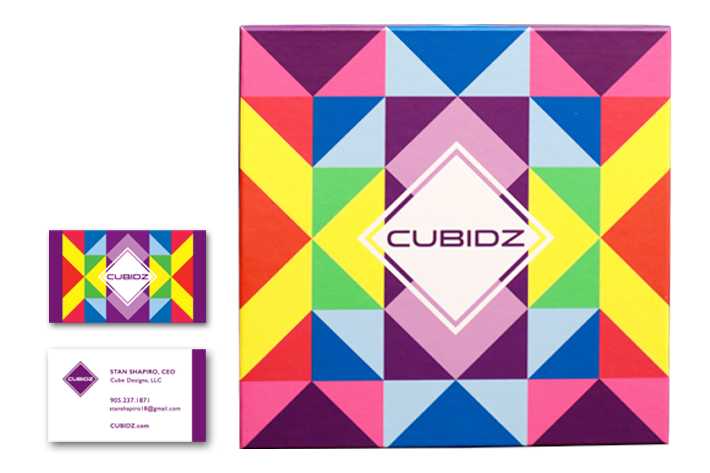 cubidz business card and packaging