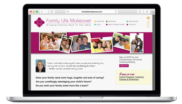 family life makeover website design