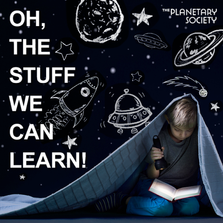 the planetary society concept ad boy reading under blanket
