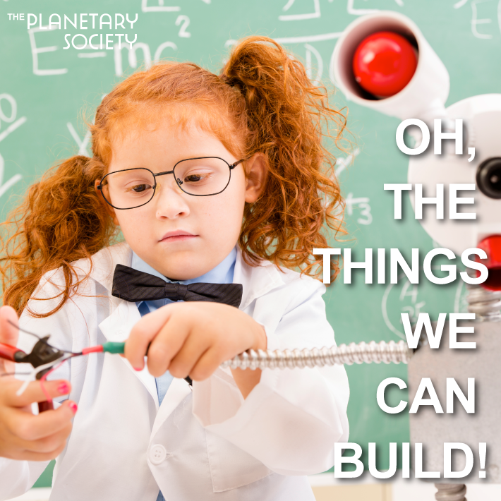 the planetary society concept ad girl building robot