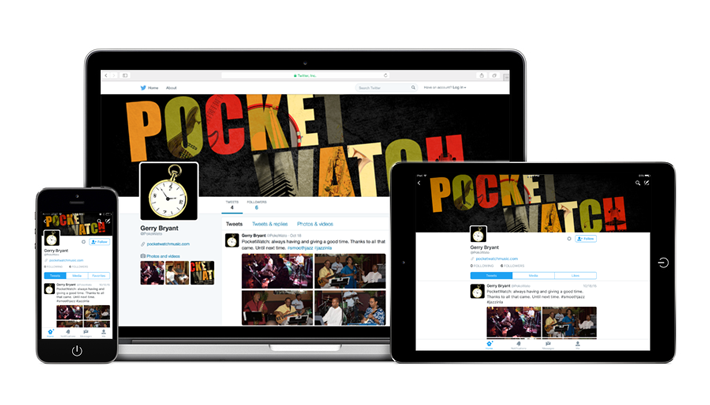 pocket watch twitter page on multiple devices